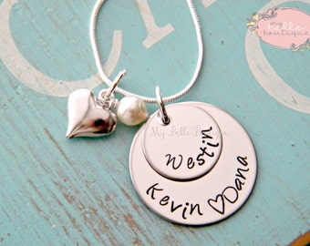 Personalized Hand Stamped Two Double Stacked Discs Names Necklace with Heart and Swarovski Pearl Charms