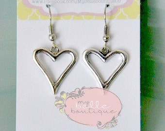 Antique Silver Heart Earrings READY TO SHIP