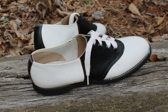 Vintage 1950s Saddle Shoes Black Amp White Leather Dance Oxfords