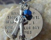 I Love a Sailor Boy and He Loves Me Too Handstamped Sailor at Ease Necklace