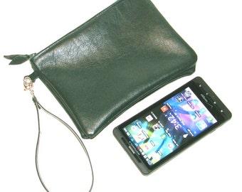 Hunter Green Lambskin Zippered Twin Pouch Wristlet Cosmetic Case iPhone Wallet Handmade