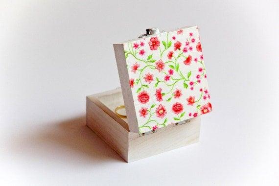 Spring Wedding Pink Flowers Ring Bearer Box - Handmade Pillow Alternative