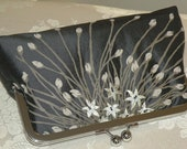 Purse/Clutch/Bag..Embroidered Floral and Petite Buds on Silk..Long Island Bridal/Wedding Gift..Taupe/Black..Free Monogram