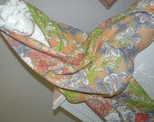 Silk Kimono Fabric  Scarf/Shawl/Wrap.Summer Shades  Florals..Matching Clutch available