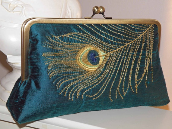 Large10in Peacock Feather Embroidered Silk Clutch/Purse/Bag..Long Island Bridal/Wedding/Bride Gift..Teal silk..Gold Feather..Free Monogram
