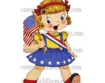 Retro American Little Patriotic Girl With Flag  Clip Art C-418 for Personal and Commercial Use Invitations, Iron-Ons, more