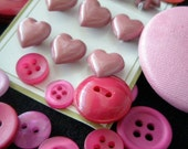 Dusky pink heart Valentine button mix.