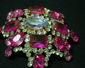 Vintage Pin or Brooch---Pink, Clear and Periwinkle Crystals--signed