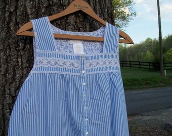 Dressing Gown Chambray Pin Stripe With Lace Shell Buttons Upcycled Victoria's Secret XS