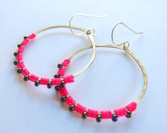 Full Moon Rising Hoops in hot pink and dark green iridescent
