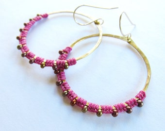 Full Moon Rising Hoops in magenta and antique brass