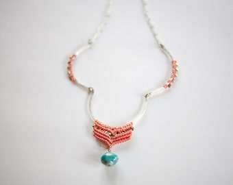 Kuzua Necklace salmon and turquoise SILVER