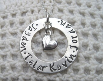 Mother Sterling Silver Mommy Necklace -  Mommy - Mother -  Grandma -  Necklace with up to Four Names