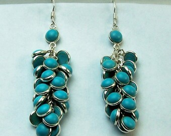 Sterling Silver and Gem Turquoise High Fashion Dangle Pierced Earrings