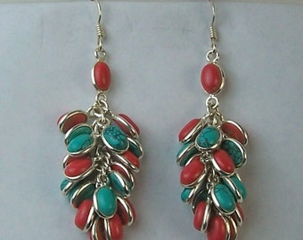 Sterlling Silver,  Turquoise and Coral High Fashion Pierced Dangle Earrings