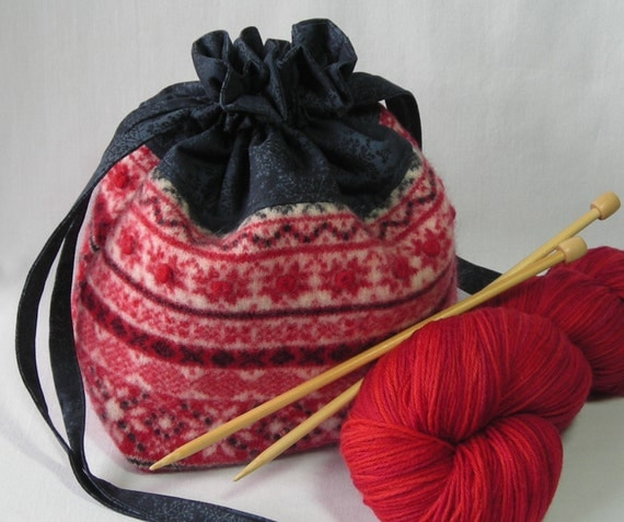 Knitting Bag - Crochet Project Bag - small project bag - drawstring bag - felted wool fair isle - free knitting pattern with purchase