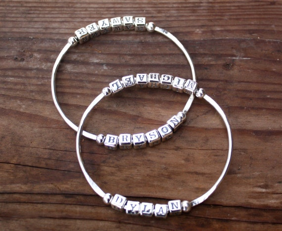Custom Bangle Bracelet - (Base price for BANGLE ONLY - letters extra), Perfect Gift for Mom, Grandmother, Girlfriend Gift