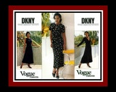 Retro Style Dress Collection -Vogue Sewing Patten -DONNA KARAN - Flattering A-Line Dress-Three Styles- Uncut- Size 8-12 -Rare -OOP