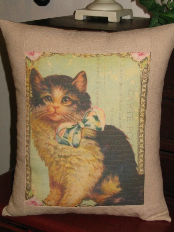 Vintage Inspired Throw Pillows : French Vintage Inspired Cat Pillow Decorative Throw Pillow