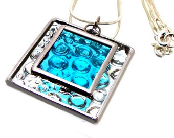 Aqua Raindrops Stained Glass Jewelry Necklace