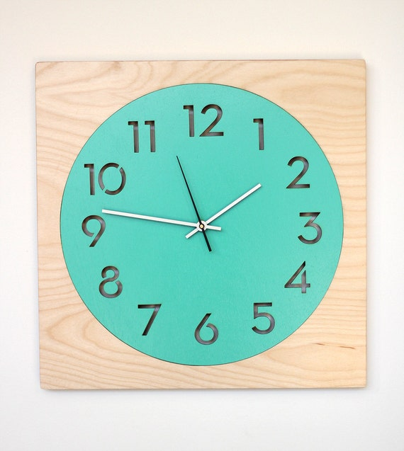 Items Similar To Modern Wood Wall Clock Aqua Or Red On Etsy