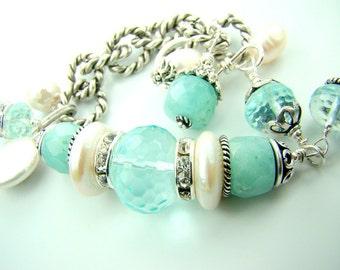 Aquamarine bracelet, aquamarine birthstone, chunky pearl charm bracelet, amazonite gemstone bracelet