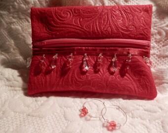 Red Felt Zipper Pouch & Hoop Earrings