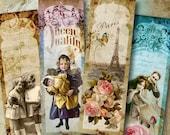 Printable Vintage Images MEMORIES  Bookmarks Digital Collage Sheet Scrapbooking craft paper greeting cards ephemera ArtCult downloads
