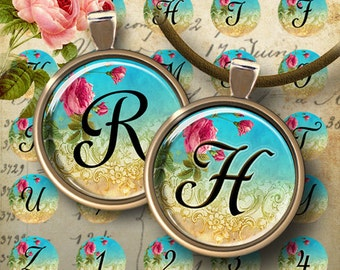 1 inch (25mm) images ROMANTIC CIRCLE INITIALS Printable Digital Download Collage Sheet for glass or resin pendants magnets bottle caps