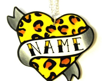 Leopard Print Tattoo style Necklace Heart Custom Personalized Name Necklace - Your choice of word - Hand Made by Dolly Cool Rockabilly 50s