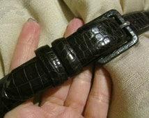 Vintage genuine Italian alligator calfskin belt, dark brown alligator belt for a small waist, Calvin Klein alligator belt made in USA