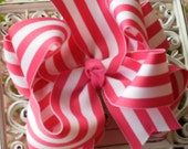 NEW ITEM----Big Boutique Doubled Layered Hair Bow Clip------Big Dark Pink and White Stripes----