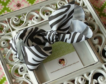 NEW---Boutique Large Hair Bow Clip---Zebra---Ready to Ship