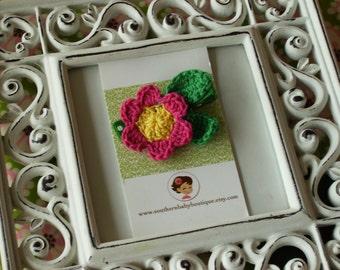 NEW ITEM----Boutique Crochet Flower Clip-----JENNI