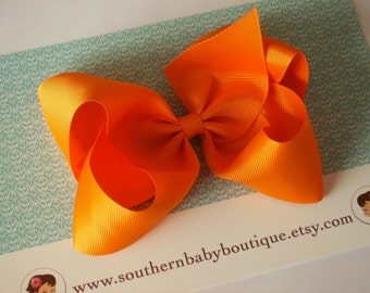NEW ITEM------Simple X-Large 5.5 Inch Hair Bow-------TANGERINE