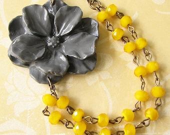 Statement Necklace Bridesmaid Jewelry Yellow Bib Necklace Flower Necklace Yellow Jewelry Grey Jewelry Fall Fashion