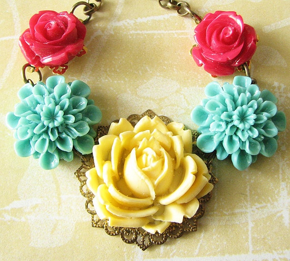 Flower Necklace Rose Jewelry Bib Necklace Turquoise Jewelry Summer Necklace Wedding Bridesmaid Gift