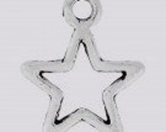 Mini Star Charms, Silver, Pack Of 20 Pieces.