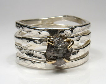 Engagement or wedding ring, rough Diamond on silver and gold- Your choice.