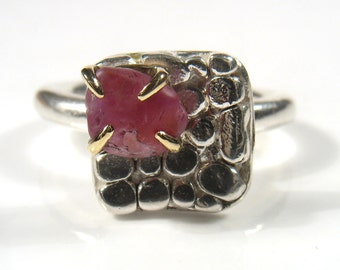 Ruby- July birthsone-Rough Ruby set in gold, on a square made of silver nuggets, perfect as engagement ring