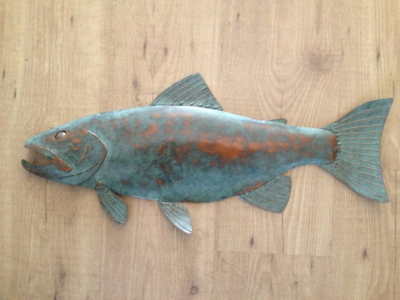 Fish trout metal wall sculpture lodge by sallenbachfishart for Fish metal wall art
