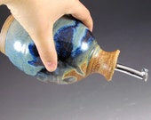 Handmade Pottery Oil Bottle in Joe's Blue