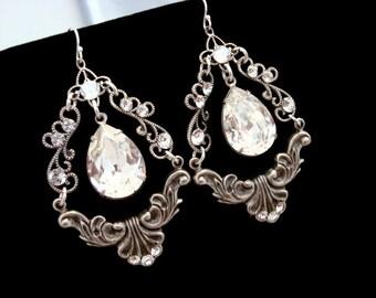 Crystal chandelier earrings, Rhinestone Bridal earrings, Wedding jewelry, Vintage style earrings, Wedding earrings, Antique silver earrings