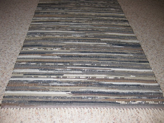 Grey Tan And Brown Area Rug: Handwoven Tan Gray Brown Navy Rag Rug 25 X 54 By