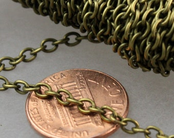50 ft of Antique Brass Finished Cable Chain - 3.8x2.7mm 0.7mm Unsoldered Link