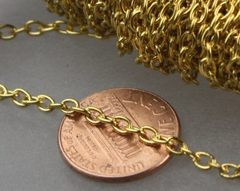 50 ft of Gold Finished Cable Chain - 3.8x2.7mm 0.7mm Unsoldered Link