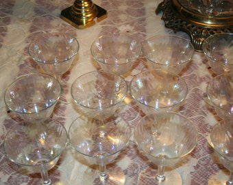 12 Vintage Opalescent Glasses