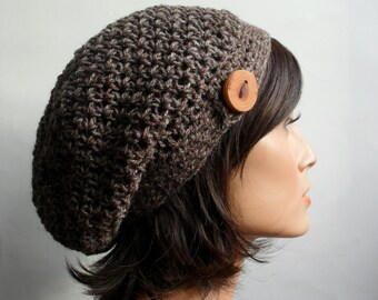 Crochet Slouchy Beanie Hat - Handmade Hat - Button Tab Slouchy Hat Winter Accessories Hemp Wool Brown made to order