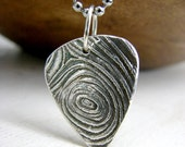 Sterling Silver Guitar Pick Necklace.  Woodgrain Guitar Pick Necklace. Engravable Guitar Pick Necklace. Unisex Jewelry.