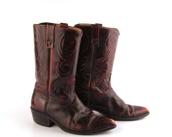 Men's cowboy boots Vintage 1980s Men's Burgundy Acme Distressed size 9
